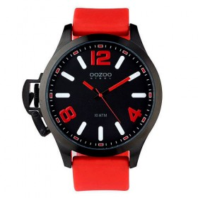 OOZOO Steel 45mm Red Rubber Strap OS364