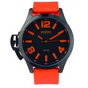 OOZOO Steel 45mm Orange Rubber Strap OS366