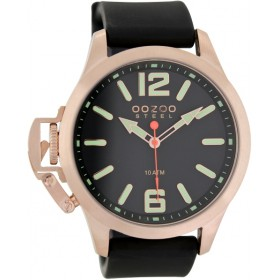 OOZOO Steel 45mm Black Rubber Strap OS405
