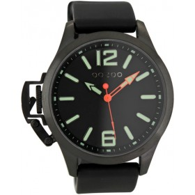 OOZOO Steel 45mm Black Rubber Strap OS411