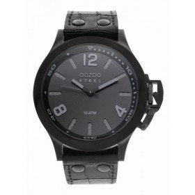 OOZOO Steel 50mm black Leather Strap OS331